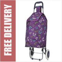 Hoppa Limited Edition 2 Wheel Shopping Trolley Purple with Multi Butterfly Print