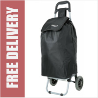 Hoppa Large 47 Litre Capacity Lightweight 2 Wheel Shopping Trolley Black