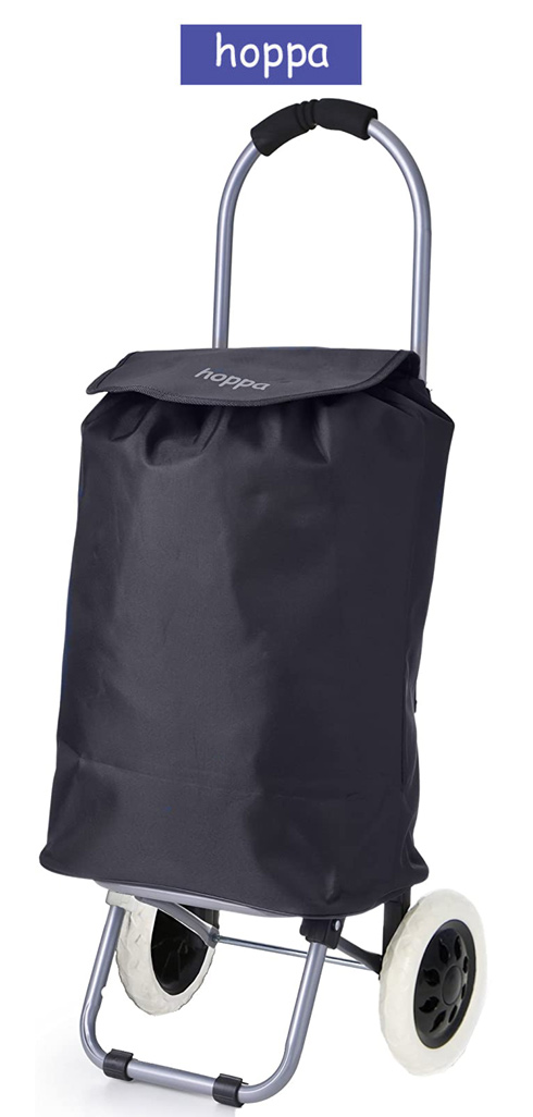 Hoppa Small Petite Super Light Plain Black 2 Wheel Shopping Trolley