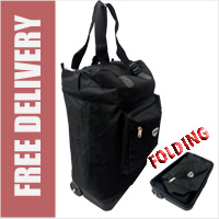 Hoppa Plain Black Drag Bag - Folding Bag on 2 Wheels