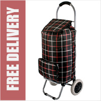 Kansas Large Capacity 2 Wheel Shopping Trolley with Front Pocket Black Check