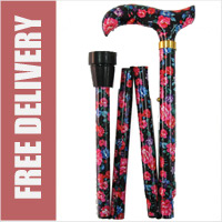 Blue and Red Roses Folding Walking Stick