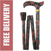 Green Paisley with Pattern in the Handle Folding Walking Stick