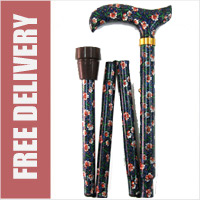 William Morris Flower Print Folding Walking Stick