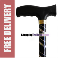 "Deluxe Black with Silver Etched Engraved Flecked Stripes Pattern Ladies Adjustable Walking Stick - 23"" - 38.5"""