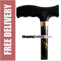 "Deluxe Chocolate with Swirls Ladies Adjustable Walking Stick - 23"" - 38.5"""