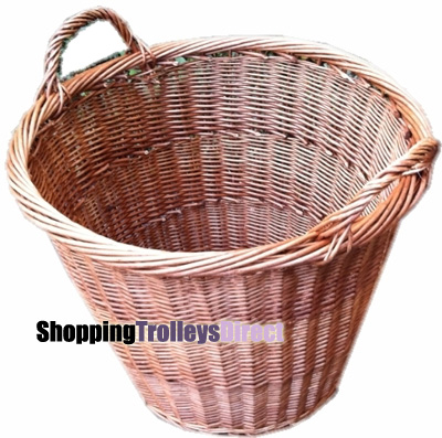 Wicker Large Round Log/Linen Storage Basket with Handles