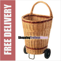 Large Luxury Wicker Shopping Trolley / Willow Log Basket on Wheels