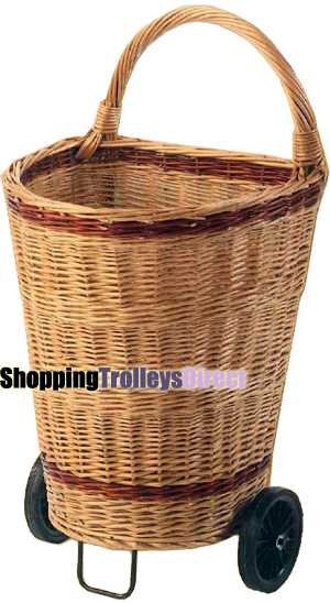 Large Luxury Wicker Shopping Trolley Willow Log Basket