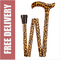 Leopard Folding Walking Stick - 4 Part