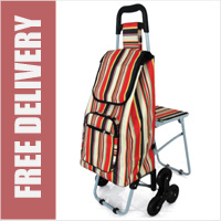 Lifemax Leisure Shopping Trolley with Seat and Triple Wheel Stair Climber