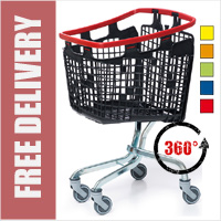 100 Litre LOOP 360 Degree Plastic Space Saver Supermarket Shopping Trolley