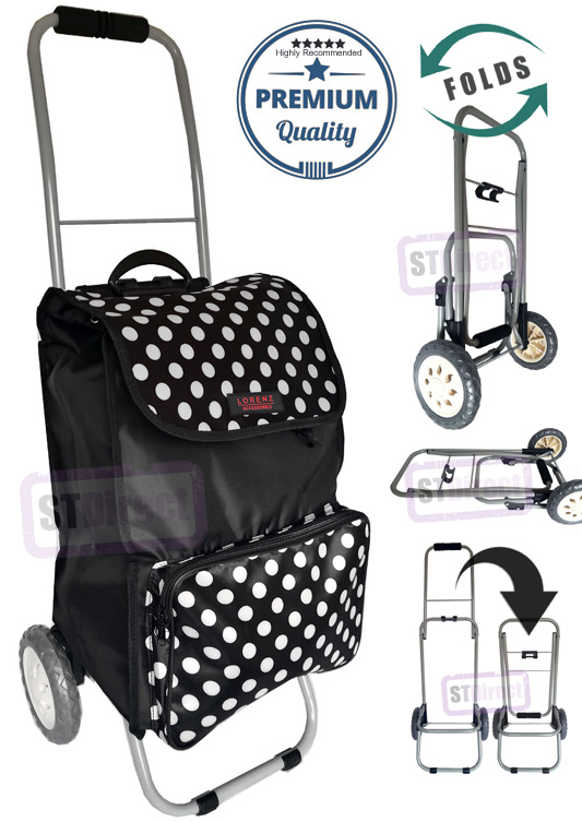 Lorenz Sorrento Folding / Collapsible Frame Premium 2 Wheel Compact Shopping Trolley with Large Front Pocket Black with Polka Dots