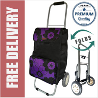 Lorenz Sorrento Folding / Collapsible Frame Premium 2 Wheel Compact Shopping Trolley with Large Front Pocket Black with Purple Flowers