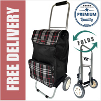 Lorenz Sorrento Folding / Collapsible Frame Premium 2 Wheel Compact Shopping Trolley with Large Front Pocket Black Check