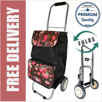 Lorenz Sorrento Folding / Collapsible Frame Premium 2 Wheel Compact Shopping Trolley with Large Front Pocket Black with Brown Floral
