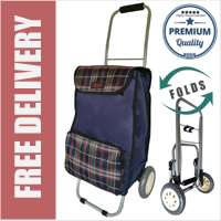 Lorenz Sorrento Folding / Collapsible Frame Premium 2 Wheel Compact Shopping Trolley with Large Front Pocket Navy Check