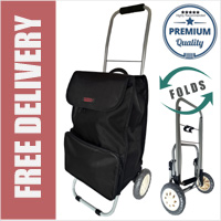 Lorenz Sorrento Folding / Collapsible Frame Premium 2 Wheel Compact Shopping Trolley with Large Front Pocket Plain Black