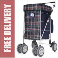 Marketeer Deluxe Swivel 6 Wheel Shopping Trolley with Rear Cooler Bag Green Check