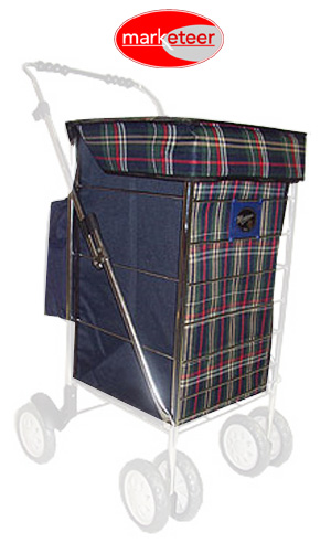 Green Check Colour Replacement Spare Bag with OPTIONAL Internal Wire Frame for Marketeer Deluxe Tall Swivel Frame (BAG ONLY)
