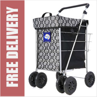 Marketeer Stroller Swivel 6 Wheel Shopping Trolley Black/Grey