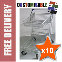 10 x 42 Litre DIY/Garden Centre Wire/Metal Trolley