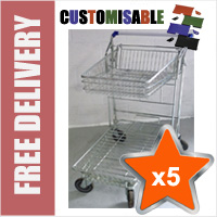 5 x 42 Litre DIY/Garden Centre Wire/Metal Trolley