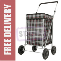 Metro Small / Petite 4 Wheel Shopping Trolley with Adjustable Handle Black Check