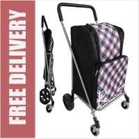 Deluxe Minneapolis 4 Wheel Strong and Stable Folding Shopping Trolley with Front Swivelling Multi-Directional Wheels and Cooler Compartment Black Check