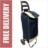 Navy 2 Wheel Shopping Trolley with Large Capacity