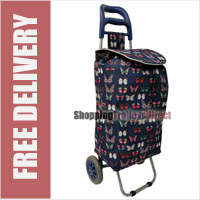 Limited Edition 2 Wheel Shopping Trolley Navy with Exotic Butterflies Print