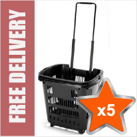 5 x 34 Litre Shopping Basket On Wheels - Black