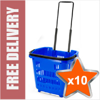 10 x Shopping Basket On Wheels - Blue