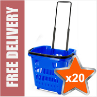 20 x Shopping Basket On Wheels - Blue