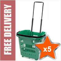 5 x 34 Litre Shopping Basket On Wheels - Green