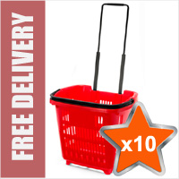 10 x 34 Litre Shopping Basket On Wheels - Red