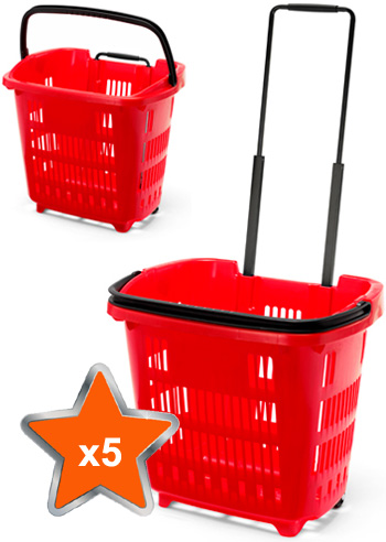 5 x 34 Litre Shopping Basket On Wheels - Red