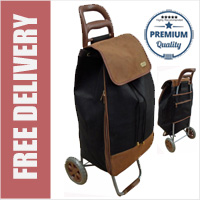 Premium Pebble Grain Leather Look Suede 2 Wheel Shopping Trolley with Extra Large Capacity Expandable Bag Black/Brown