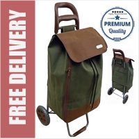 Premium Pebble Grain Leather Look 2 Wheel Shopping Trolley with Large Capacity Expandable Bag Green/Brown