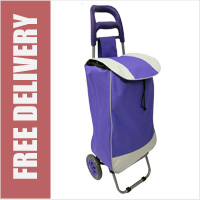 Purple 2 Wheel Shopping Trolley with Large Capacity