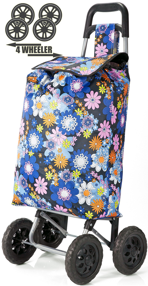 PUSH And PULL Static 4 Wheel Super Lightweight Large Capacity Shopping Trolley Blue Floral Burst Print