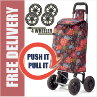 PUSH And PULL Static 4 Wheel Super Lightweight Large Capacity Shopping Trolley Brown/Orange Floral Burst Print