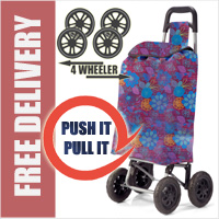 PUSH And PULL Static 4 Wheel Super Lightweight Large Capacity Shopping Trolley Mauve/Purple Floral Burst Print