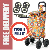 PUSH And PULL Static 4 Wheel Super Lightweight Large Capacity Shopping Trolley Orange Floral Burst Print