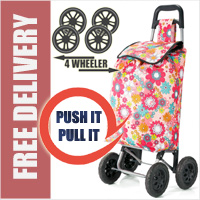 PUSH And PULL Static 4 Wheel Super Lightweight Large Capacity Shopping Trolley Pastel Pink Floral Burst Print