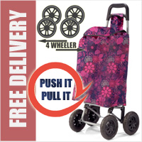 PUSH And PULL Static 4 Wheel Super Lightweight Large Capacity Shopping Trolley Purple/Pink Floral Burst Print