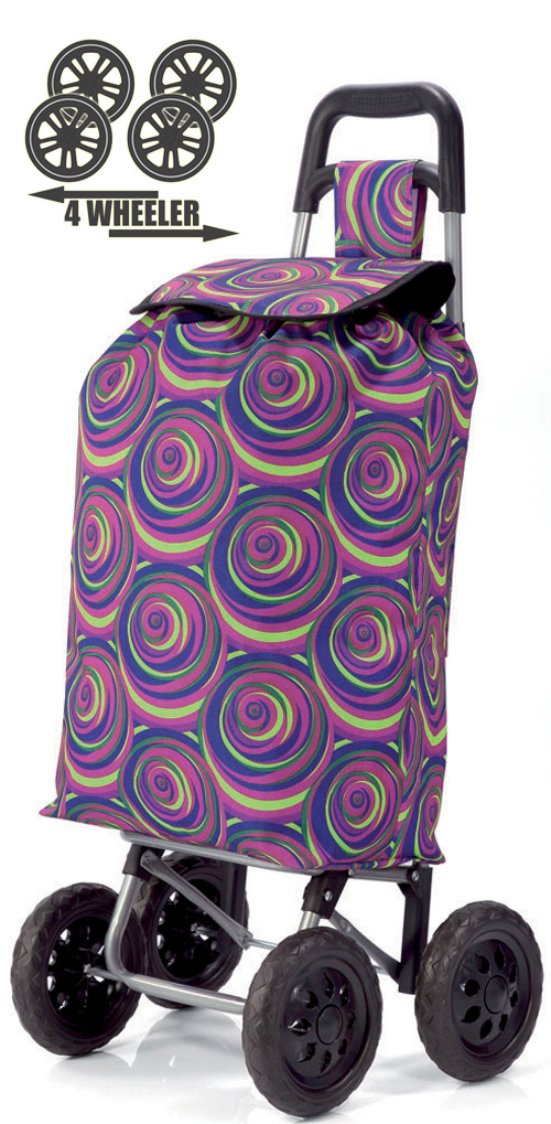 PUSH And PULL Static 4 Wheel Super Lightweight Large Capacity Shopping Trolley Spiral Purple Print