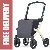Rollz Flex Ultra Modern Shopper Rollator Front Swivel 4 Wheel Shopping Trolley with Seat and Safety Brake Denim Grey