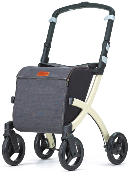 Rollz Flex Ultra Modern Shopper Rollator Front Swivel 4 Wheel Shopping Trolley with Seat and Safety Brake Denim Grey (STANDARD SIZE)