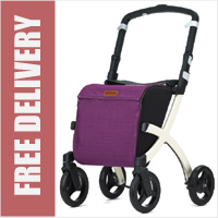 Rollz Flex Ultra Modern Shopper Rollator Front Swivel 4 Wheel Shopping Trolley with Seat and Safety Brake Purple